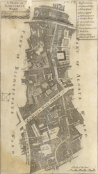 A mapp of Lime Street ward. Taken from ye last surveys & corrected (1720)